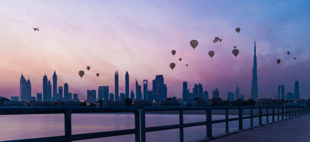 Dubai Skyline with Hot Air Ballons